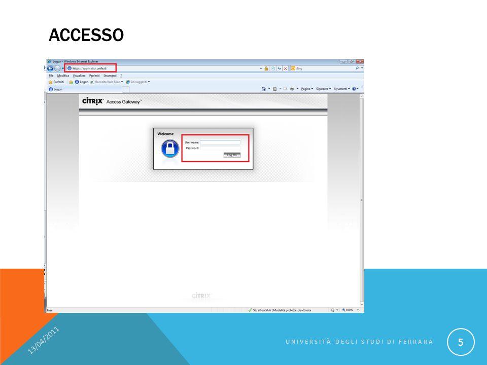 RIASSUMENDO: Per lutente finale NON è cambiato nulla 13/04/2011 UNIVERSITÀ DEGLI STUDI DI FERRARA 46 Schermata in localeSchermata con CITRIX