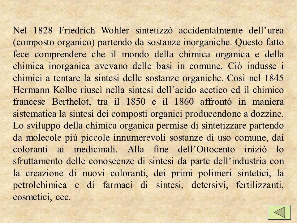 Nel 1828 Friedrich Wohler sintetizzò accidentalmente dellurea (composto organico) partendo da sostanze inorganiche.