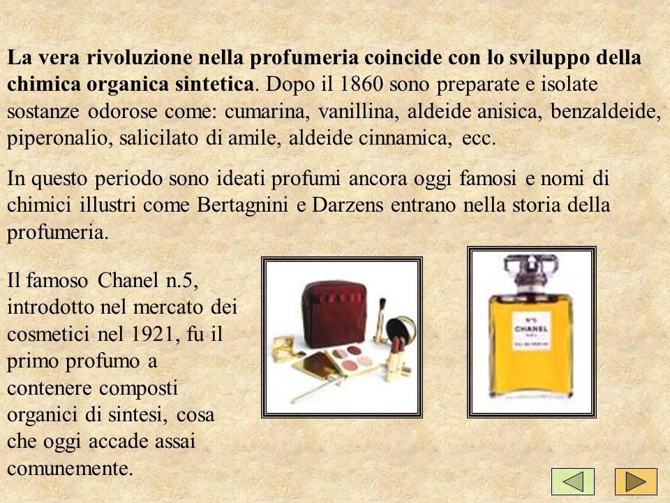 La vera rivoluzione nella profumeria coincide con lo sviluppo della chimica organica sintetica.