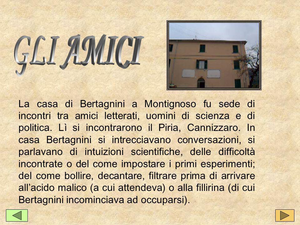 La casa di Bertagnini a Montignoso fu sede di incontri tra amici letterati, uomini di scienza e di politica.