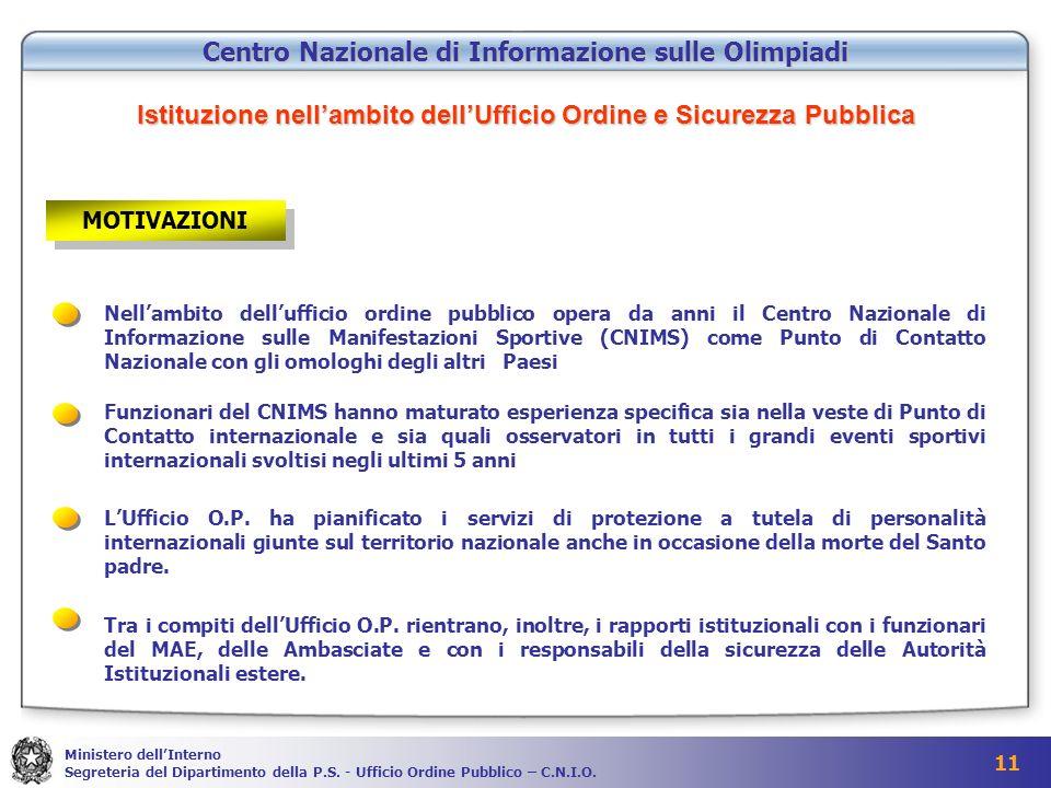 11 Ministero dellInterno Segreteria del Dipartimento della P.S.