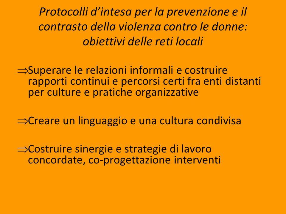 Protocolli dintesa per la prevenzione e il contrasto della violenza contro le donne: obiettivi delle reti locali Superare le relazioni informali e cos