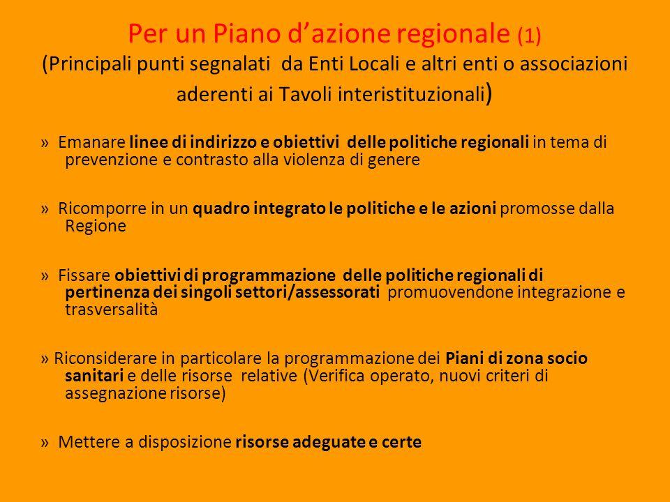 Per un Piano dazione regionale (1) (Principali punti segnalati da Enti Locali e altri enti o associazioni aderenti ai Tavoli interistituzionali ) » Em