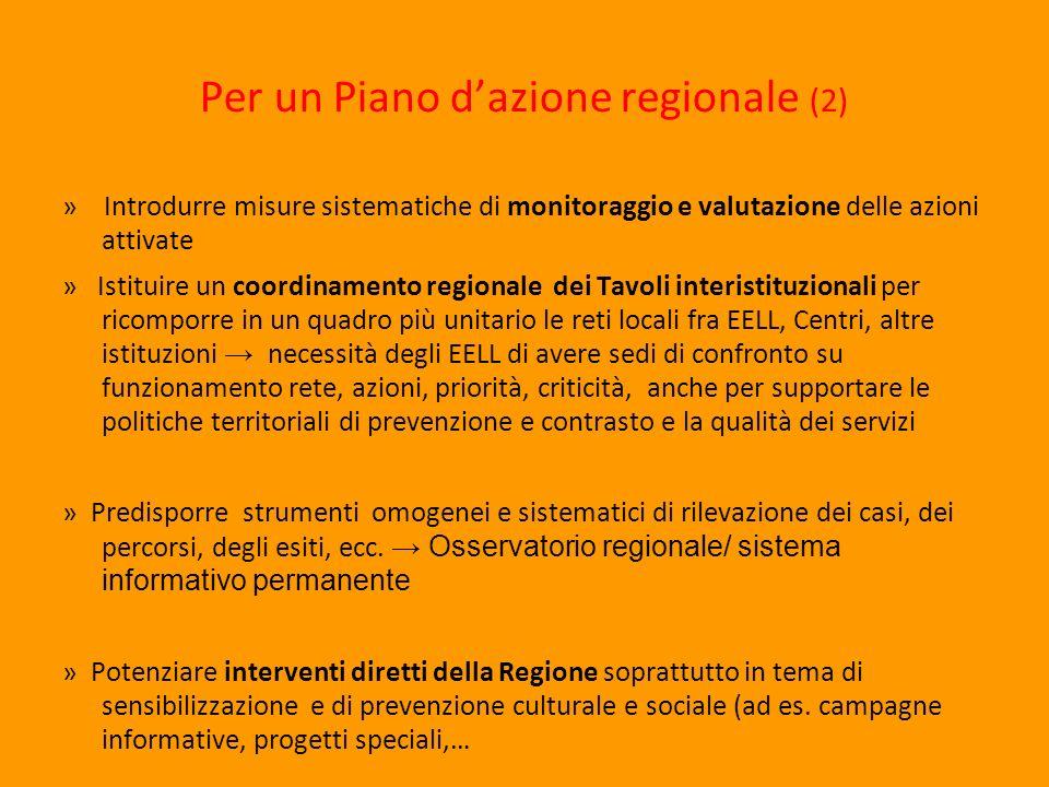 Per un Piano dazione regionale (2) » Introdurre misure sistematiche di monitoraggio e valutazione delle azioni attivate » Istituire un coordinamento r