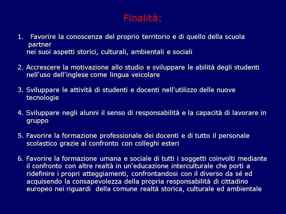 Finalità: 1. Favorire la conoscenza del proprio territorio e di quello della scuola partner nei suoi aspetti storici, culturali, ambientali e sociali