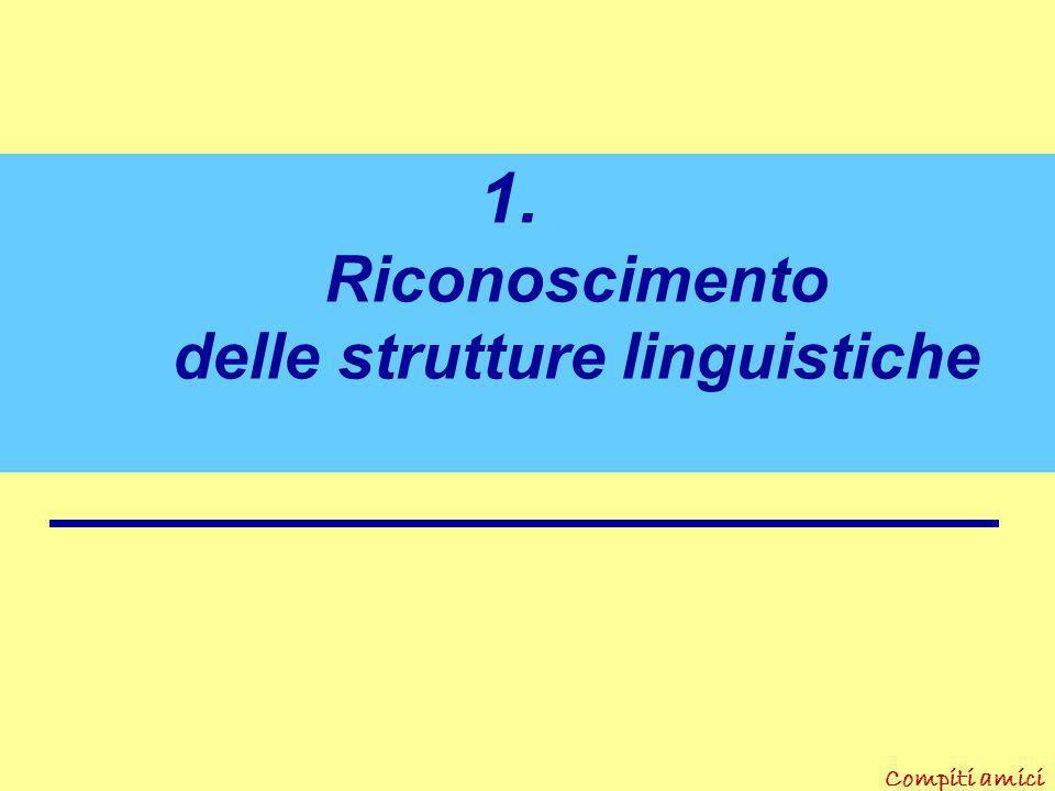 Compiti amici III. Pra t iche didattiche in italiano 1.Riconoscimento delle strutture linguistiche 2. Lettura e comprensione del testo 3.Produzione sc