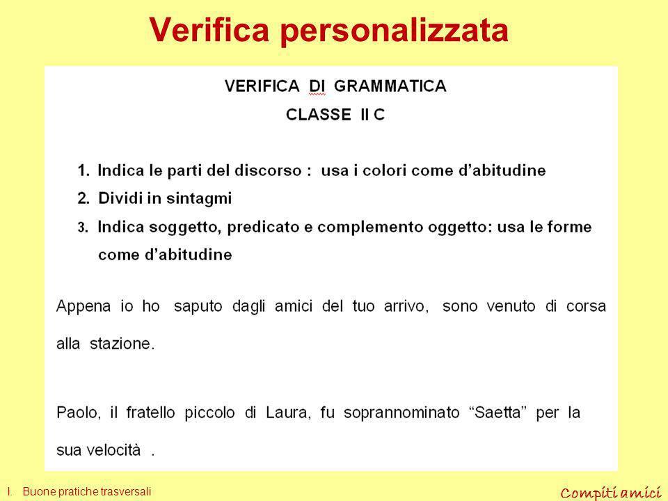 Compiti amici Verifica standard I. Buone pratiche trasversali