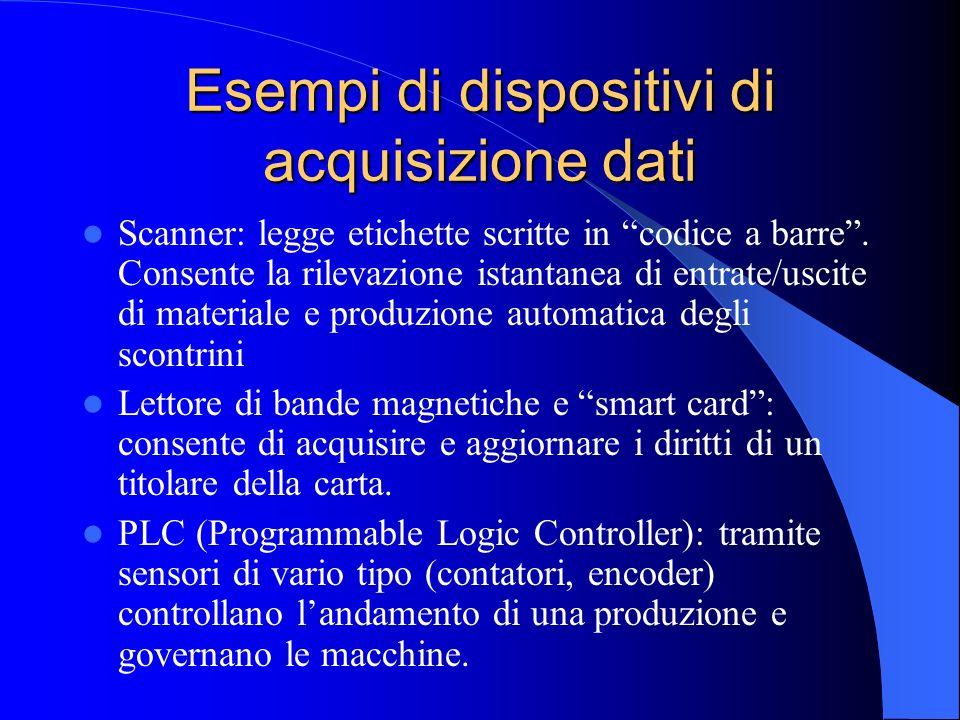 Esempi di dispositivi di acquisizione dati Scanner: legge etichette scritte in codice a barre. Consente la rilevazione istantanea di entrate/uscite di
