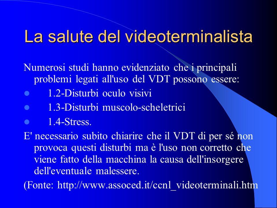 La salute del videoterminalista Numerosi studi hanno evidenziato che i principali problemi legati all'uso del VDT possono essere: 1.2-Disturbi oculo v
