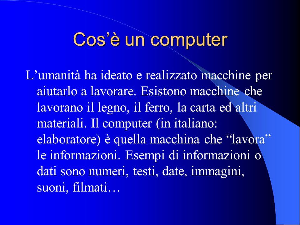 Cosè un computer Lumanità ha ideato e realizzato macchine per aiutarlo a lavorare. Esistono macchine che lavorano il legno, il ferro, la carta ed altr