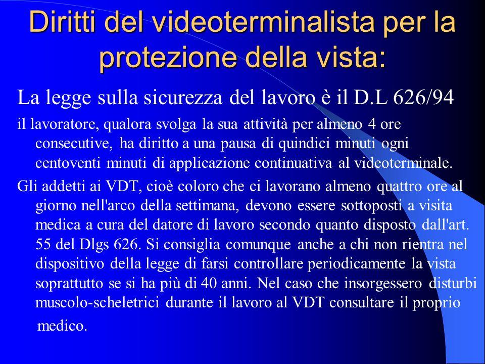 Diritti del videoterminalista per la protezione della vista: La legge sulla sicurezza del lavoro è il D.L 626/94 il lavoratore, qualora svolga la sua