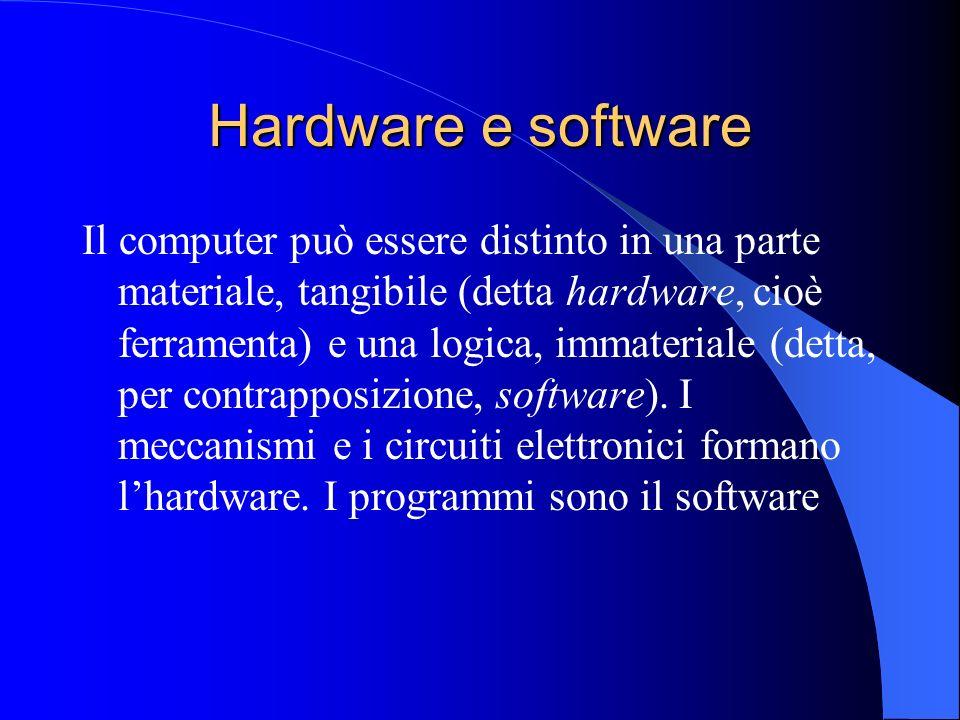 Hardware e software Il computer può essere distinto in una parte materiale, tangibile (detta hardware, cioè ferramenta) e una logica, immateriale (det