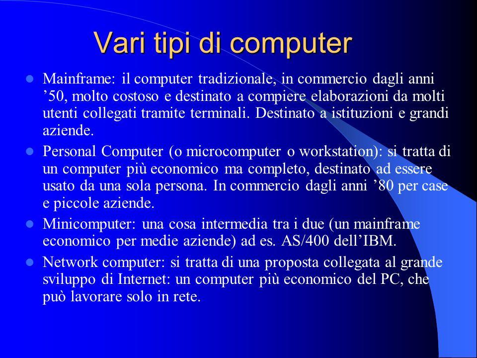Vari tipi di computer Mainframe: il computer tradizionale, in commercio dagli anni 50, molto costoso e destinato a compiere elaborazioni da molti uten