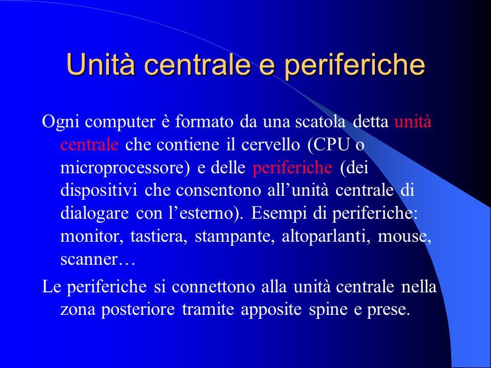 Unità centrale e periferiche Ogni computer è formato da una scatola detta unità centrale che contiene il cervello (CPU o microprocessore) e delle peri