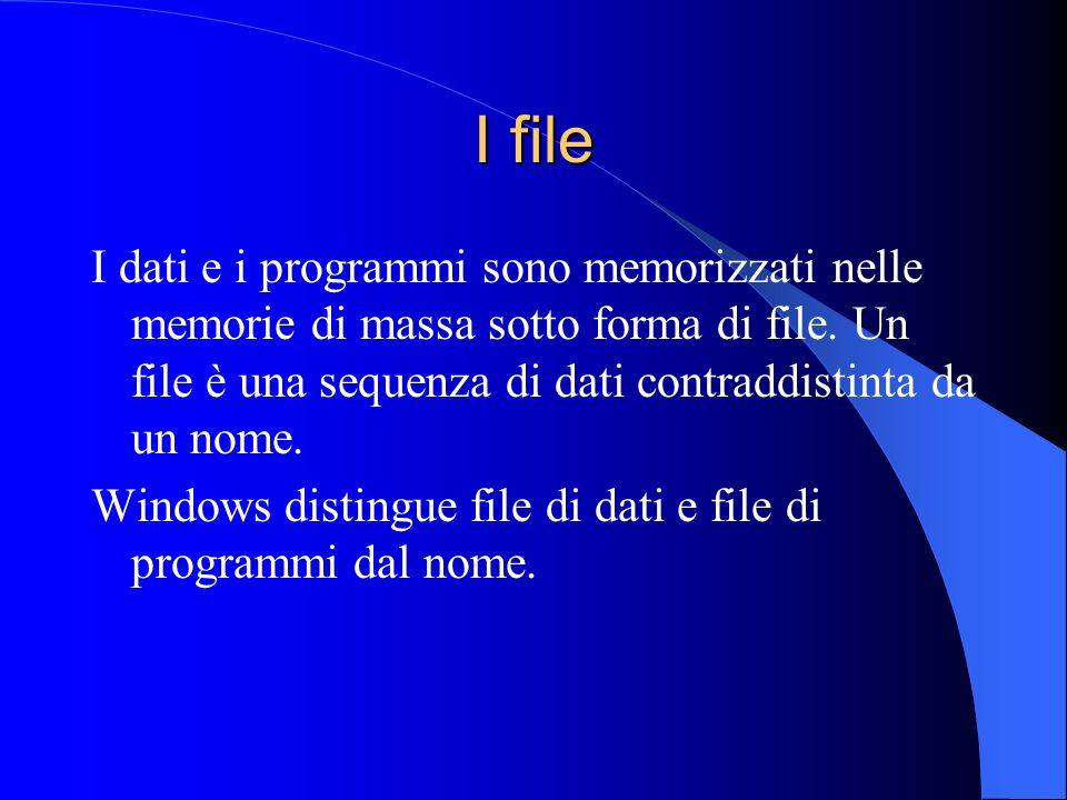I file I dati e i programmi sono memorizzati nelle memorie di massa sotto forma di file. Un file è una sequenza di dati contraddistinta da un nome. Wi