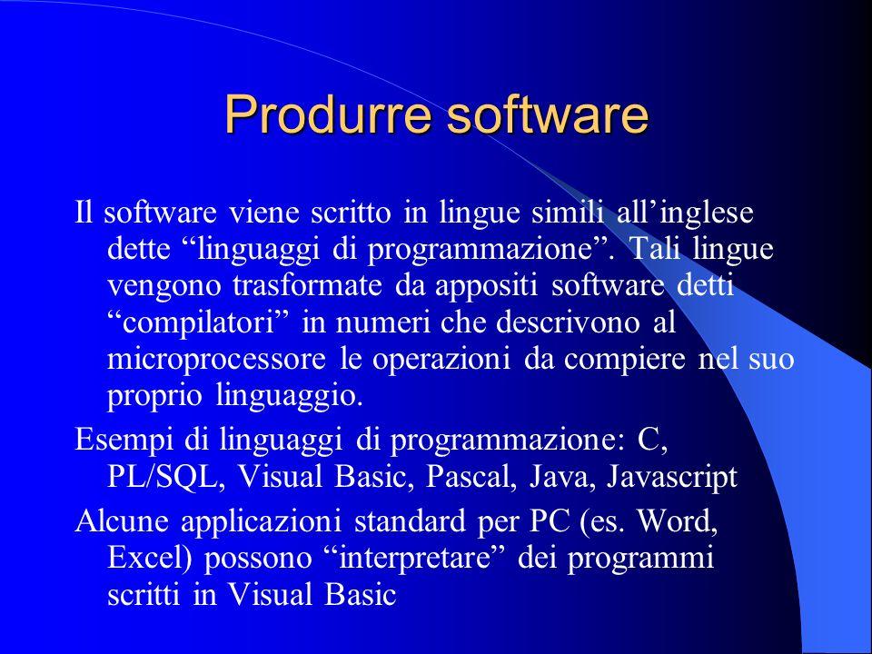 Produrre software Il software viene scritto in lingue simili allinglese dette linguaggi di programmazione. Tali lingue vengono trasformate da appositi