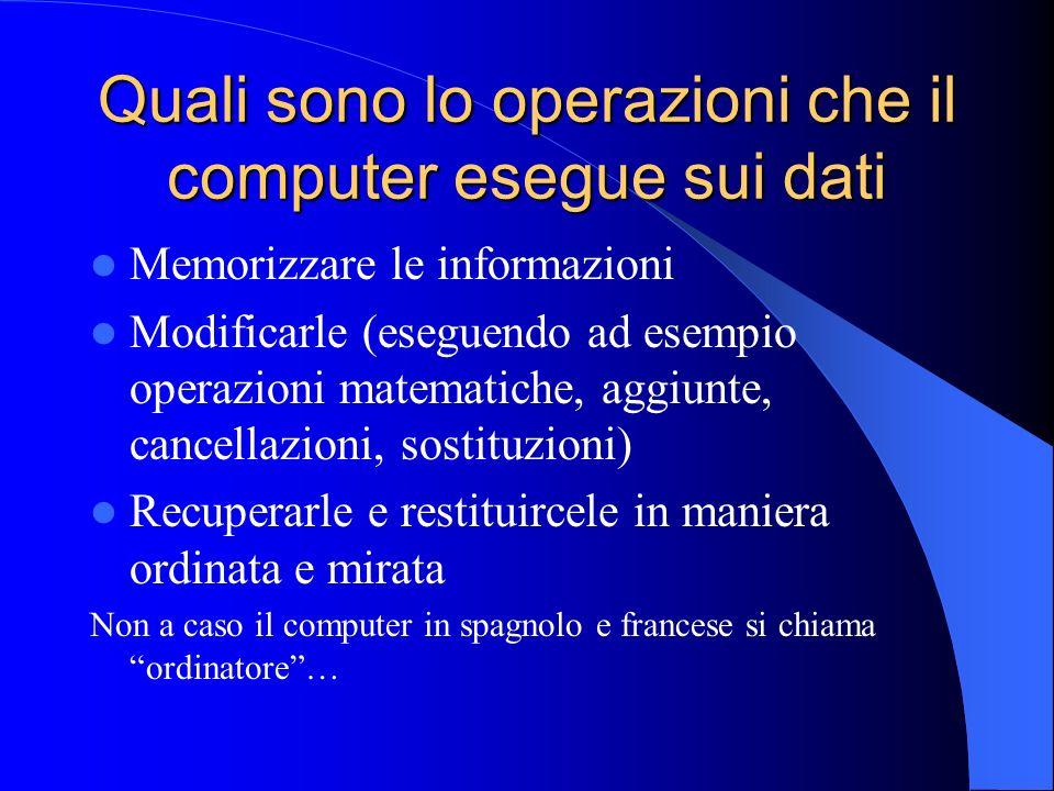 Quali sono lo operazioni che il computer esegue sui dati Memorizzare le informazioni Modificarle (eseguendo ad esempio operazioni matematiche, aggiunt
