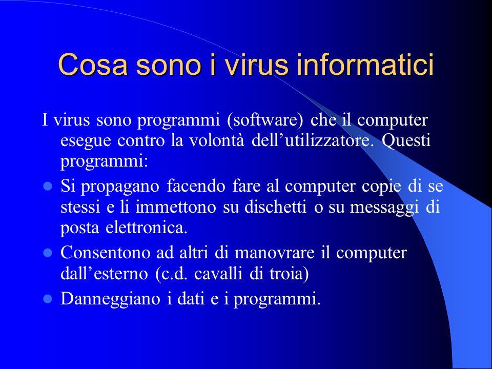 Cosa sono i virus informatici I virus sono programmi (software) che il computer esegue contro la volontà dellutilizzatore. Questi programmi: Si propag