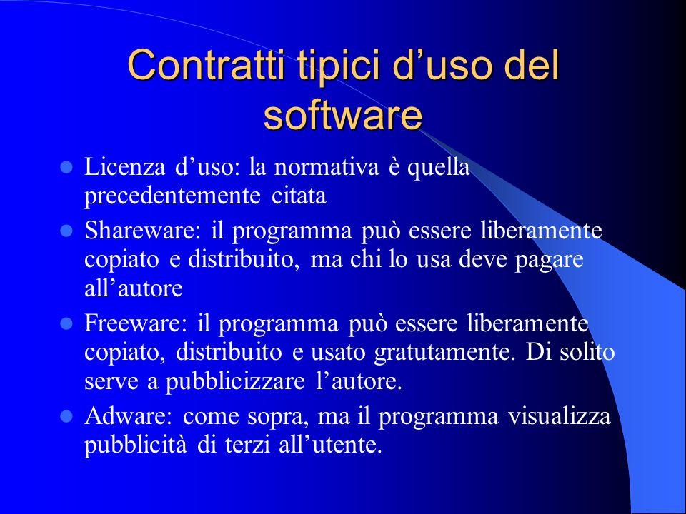 Contratti tipici duso del software Licenza duso: la normativa è quella precedentemente citata Shareware: il programma può essere liberamente copiato e