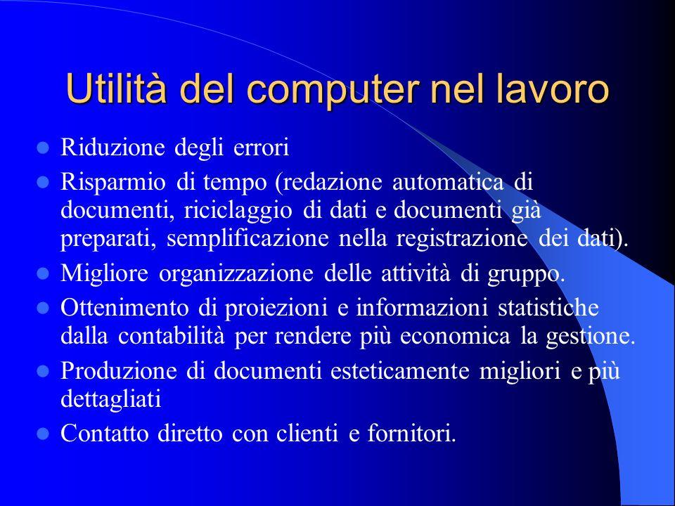 Utilità del computer nel lavoro Riduzione degli errori Risparmio di tempo (redazione automatica di documenti, riciclaggio di dati e documenti già prep