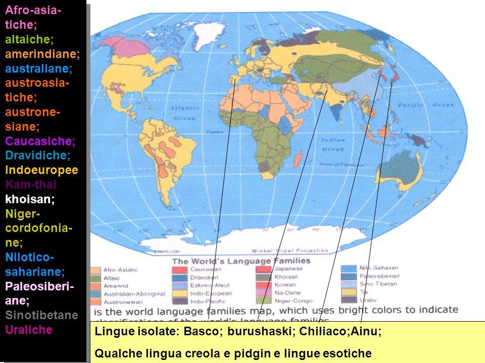 Afro-asia- tiche; altaiche; amerindiane; australiane; austroasia- tiche; austrone- siane; Caucasiche; Dravidiche; Indoeuropee Kam-thai; khoisan; Niger