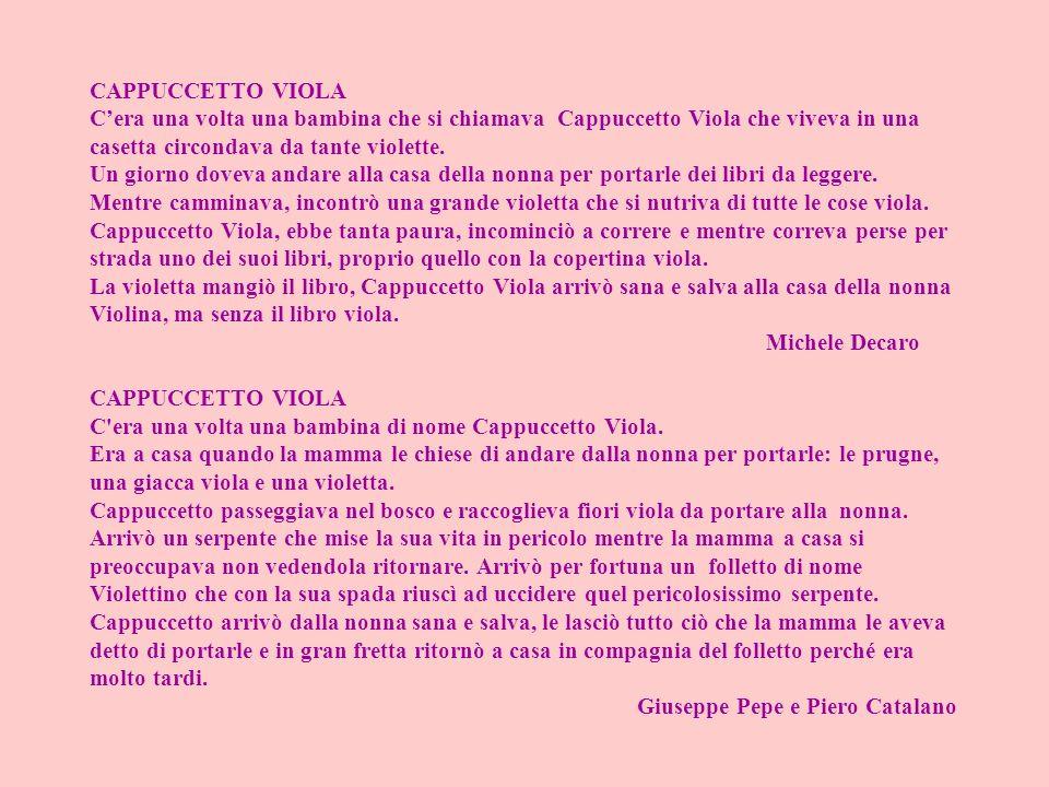 CAPPUCCETTO VIOLA Cera una volta una bambina che si chiamava Cappuccetto Viola che viveva in una casetta circondava da tante violette. Un giorno dovev