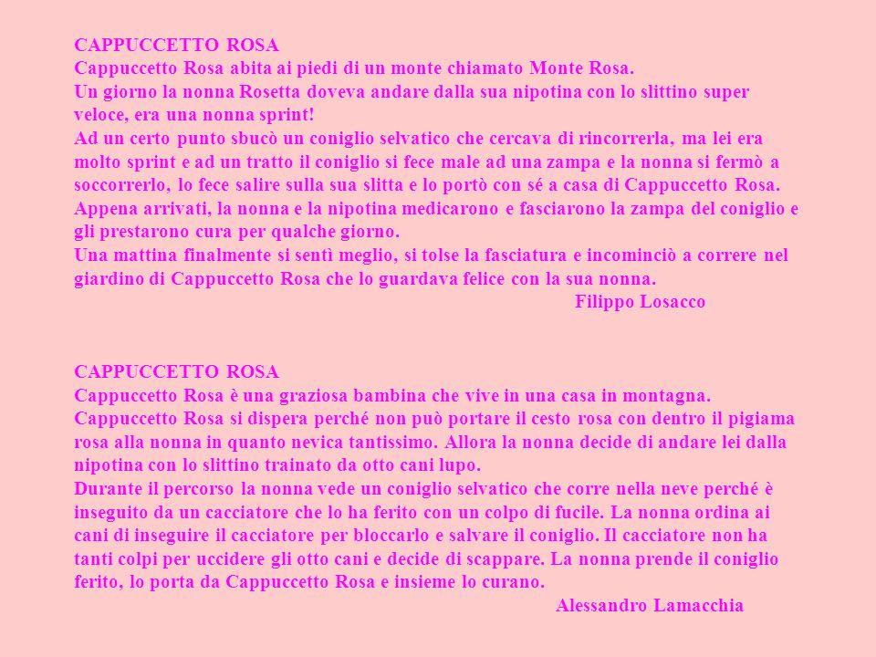 CAPPUCCETTO ROSA Cappuccetto Rosa abita ai piedi di un monte chiamato Monte Rosa. Un giorno la nonna Rosetta doveva andare dalla sua nipotina con lo s