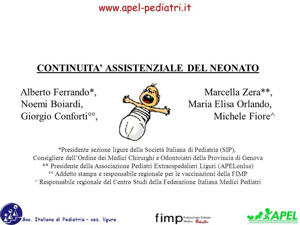 www.apel-pediatri.it Soc. Italiana di Pediatria – sez. ligure CONTINUITA ASSISTENZIALE DEL NEONATO Alberto Ferrando*, Marcella Zera**, Noemi Boiardi,