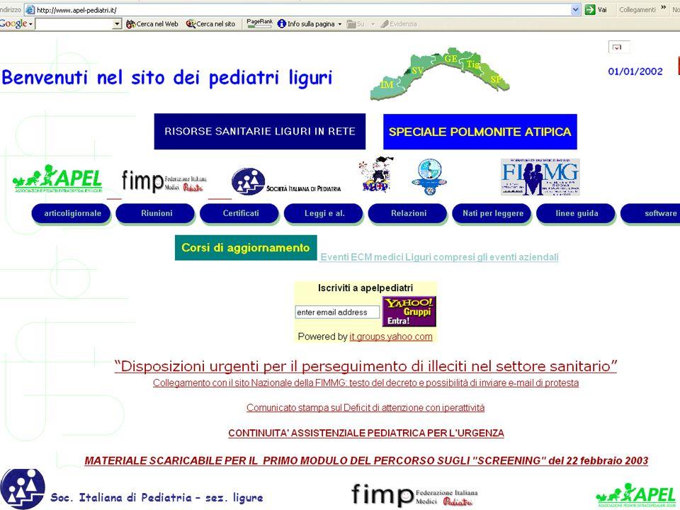 www.apel-pediatri.it Soc. Italiana di Pediatria – sez. ligure