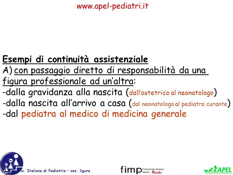 www.apel-pediatri.it Soc. Italiana di Pediatria – sez. ligure Esempi di continuità assistenziale A)con passaggio diretto di responsabilità da una figu