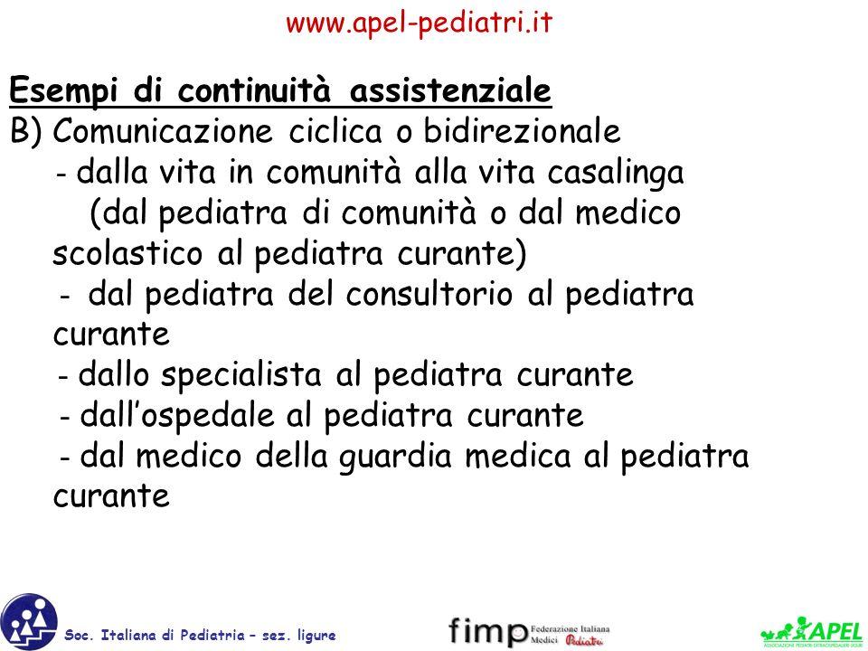 www.apel-pediatri.it Soc. Italiana di Pediatria – sez. ligure Esempi di continuità assistenziale B) Comunicazione ciclica o bidirezionale - dalla vita