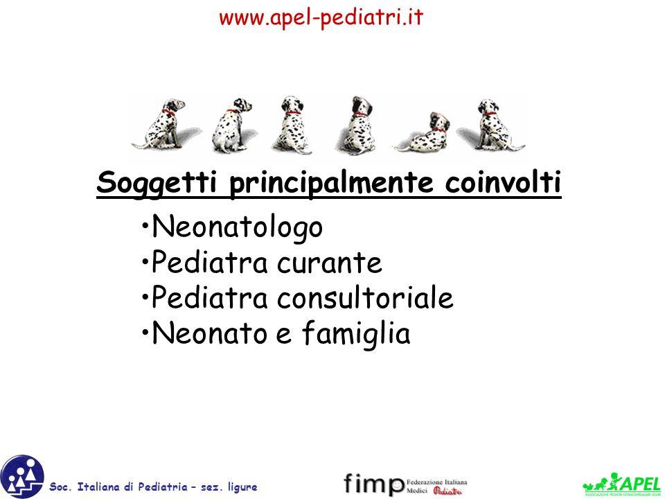 www.apel-pediatri.it Soc. Italiana di Pediatria – sez. ligure Neonatologo Pediatra curante Pediatra consultoriale Neonato e famiglia Soggetti principa