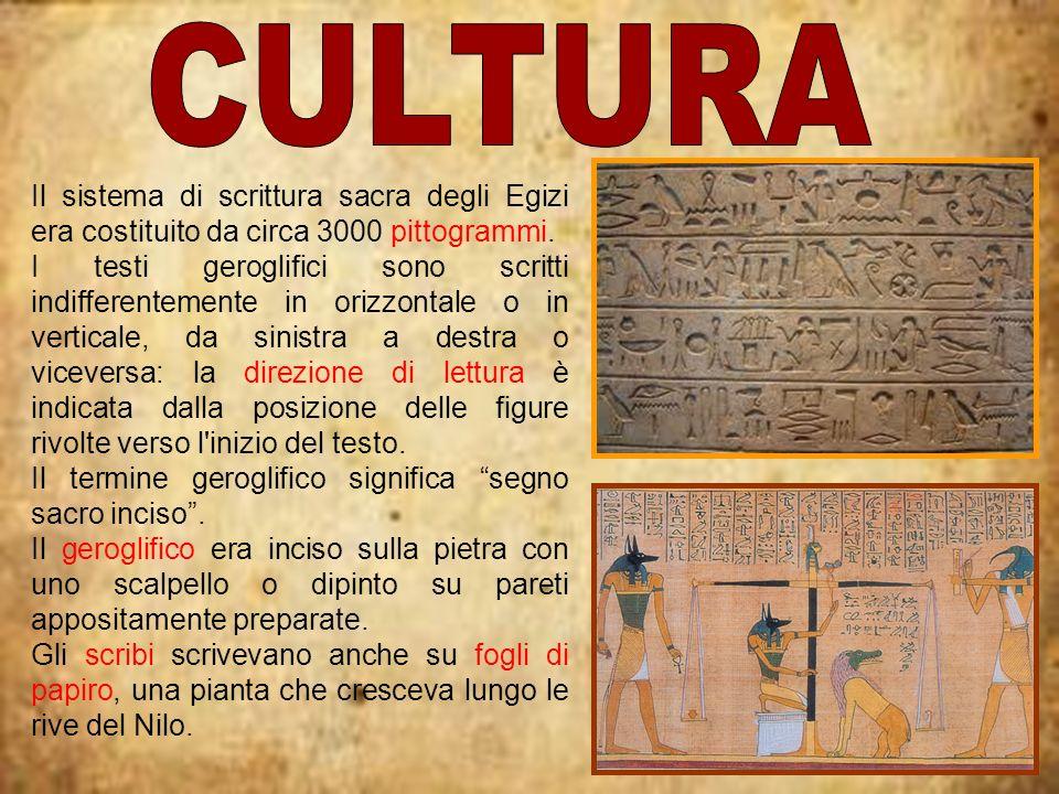 Il sistema di scrittura sacra degli Egizi era costituito da circa 3000 pittogrammi. I testi geroglifici sono scritti indifferentemente in orizzontale