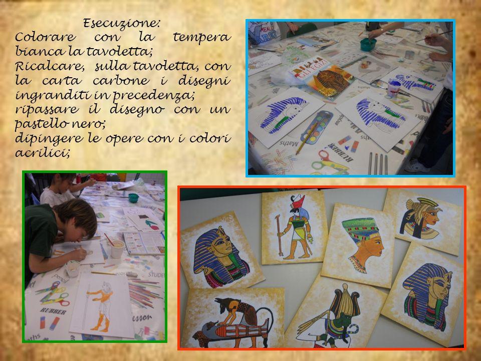 Esecuzione: Colorare con la tempera bianca la tavoletta; Ricalcare, sulla tavoletta, con la carta carbone i disegni ingranditi in precedenza; ripassar