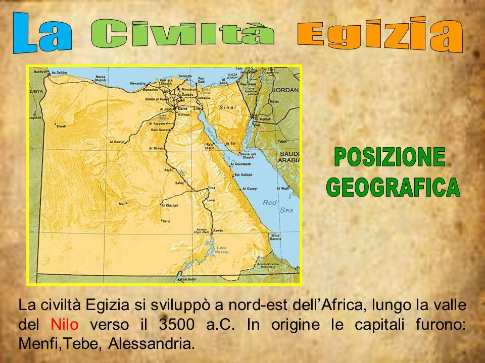 La civiltà Egizia si sviluppò a nord-est dellAfrica, lungo la valle del Nilo verso il 3500 a.C. In origine le capitali furono: Menfi,Tebe, Alessandria