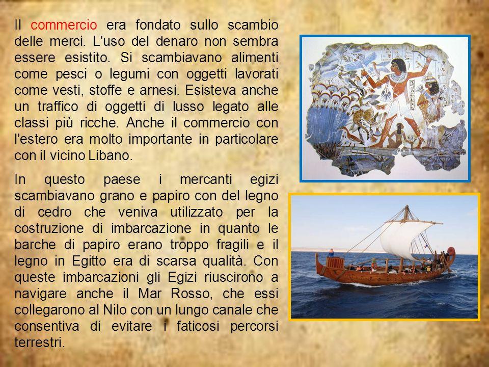 Il commercio era fondato sullo scambio delle merci. L'uso del denaro non sembra essere esistito. Si scambiavano alimenti come pesci o legumi con ogget
