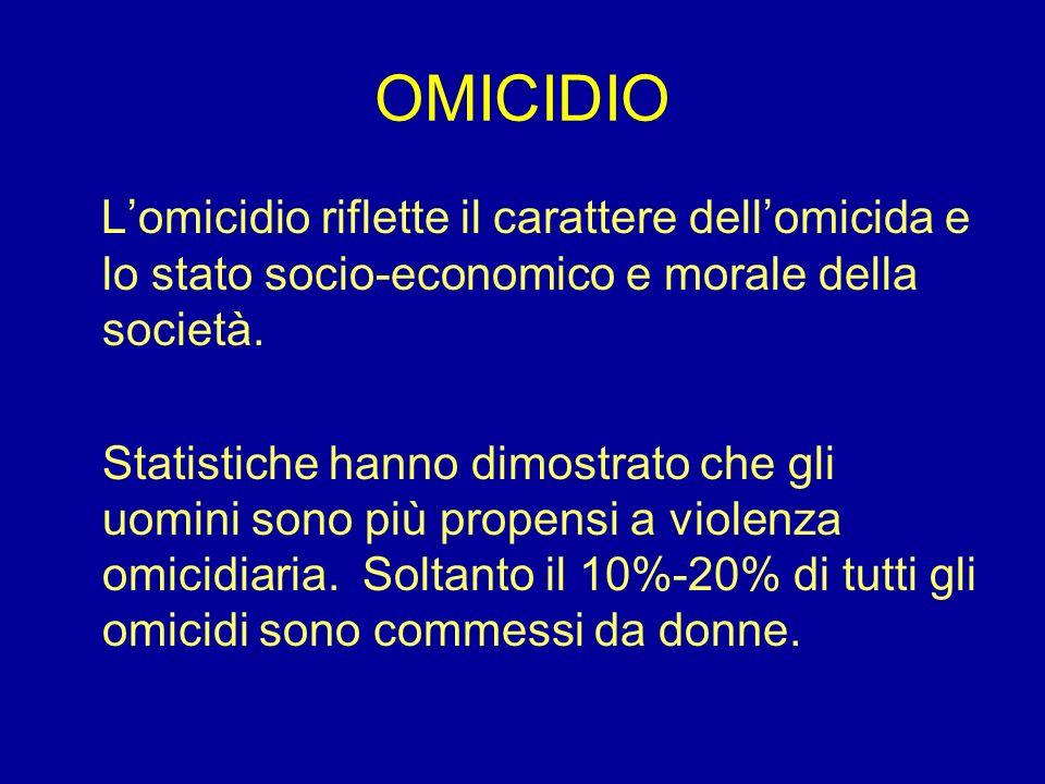 OMICIDIO Lomicidio riflette il carattere dellomicida e lo stato socio-economico e morale della società. Statistiche hanno dimostrato che gli uomini so