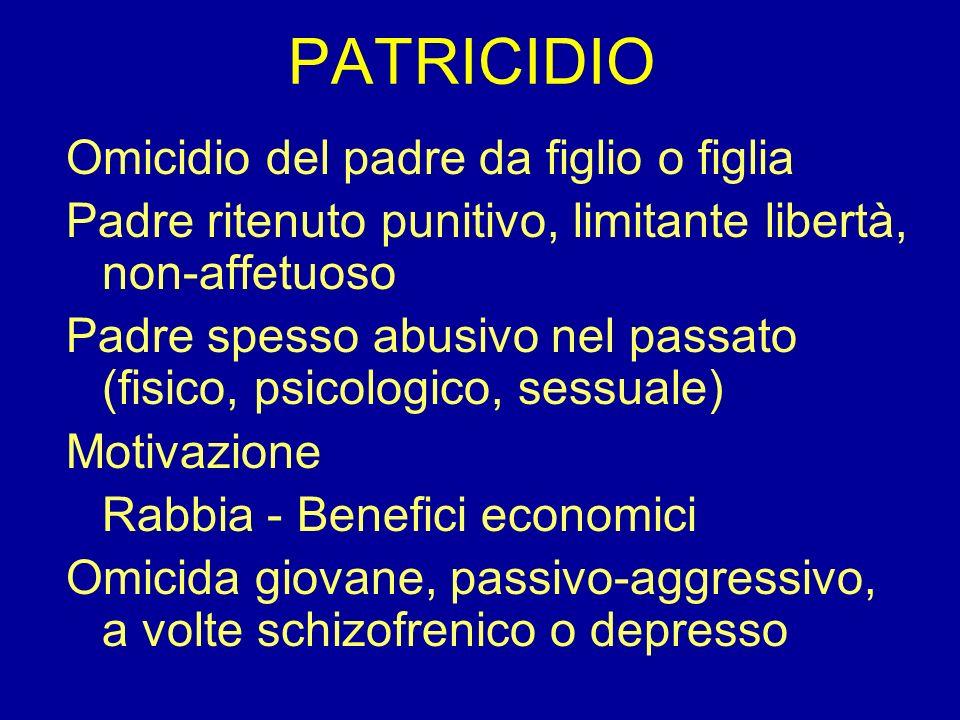 PATRICIDIO Omicidio del padre da figlio o figlia Padre ritenuto punitivo, limitante libertà, non-affetuoso Padre spesso abusivo nel passato (fisico, p