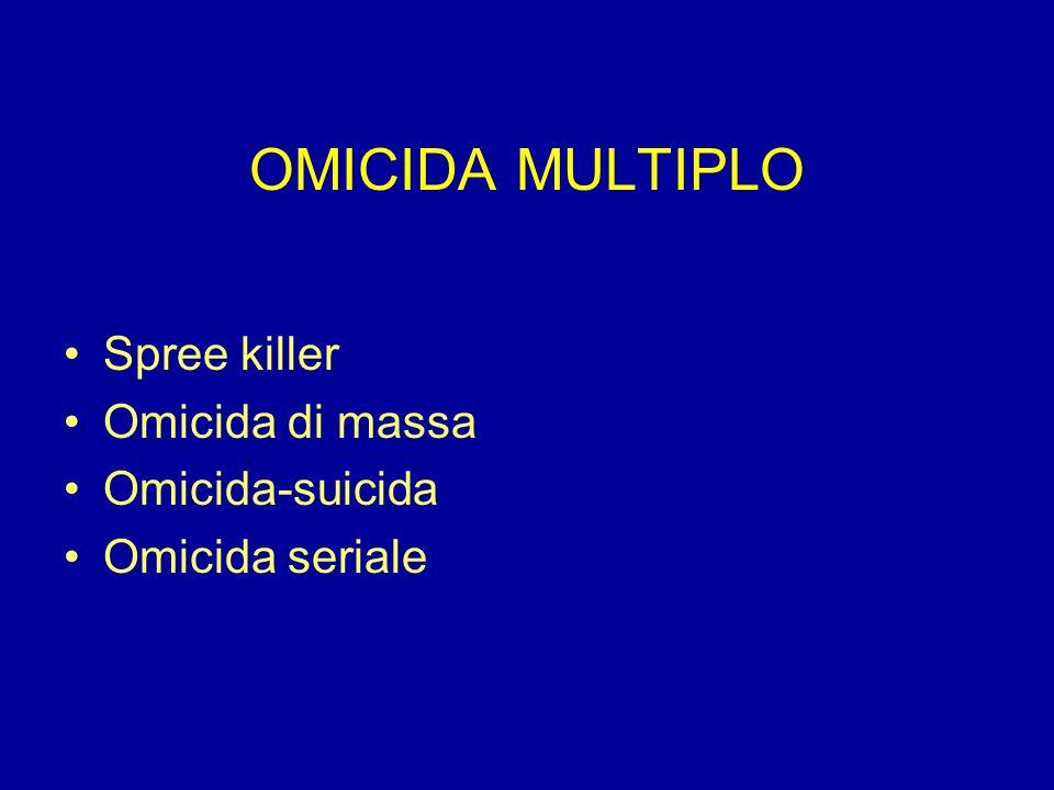 OMICIDA MULTIPLO Spree killer Omicida di massa Omicida-suicida Omicida seriale