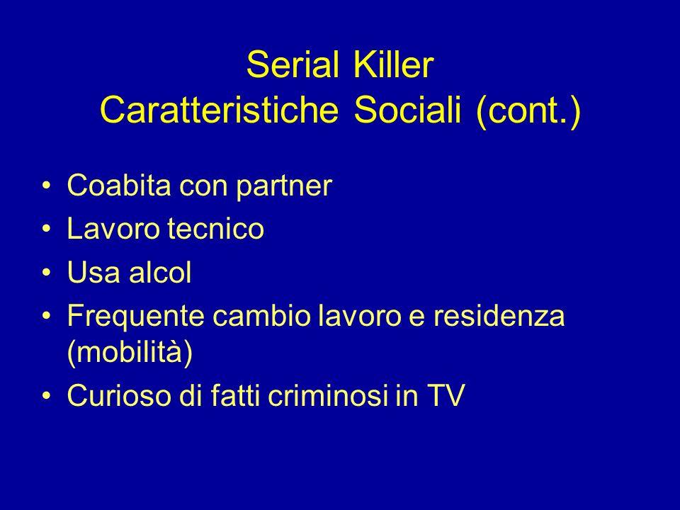 Serial Killer Caratteristiche Sociali (cont.) Coabita con partner Lavoro tecnico Usa alcol Frequente cambio lavoro e residenza (mobilità) Curioso di f