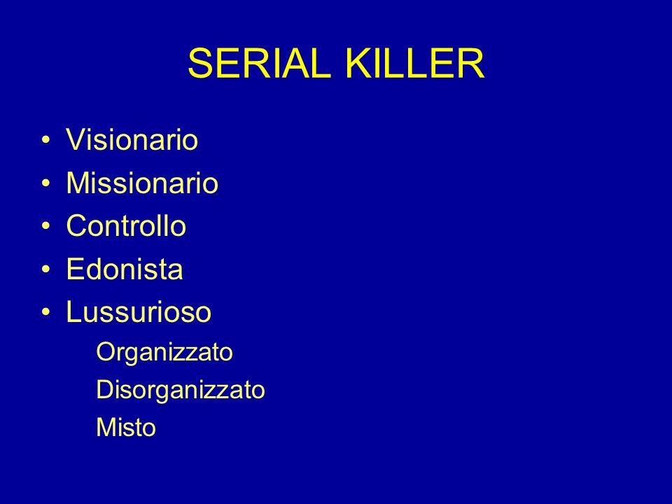 SERIAL KILLER Visionario Missionario Controllo Edonista Lussurioso Organizzato Disorganizzato Misto