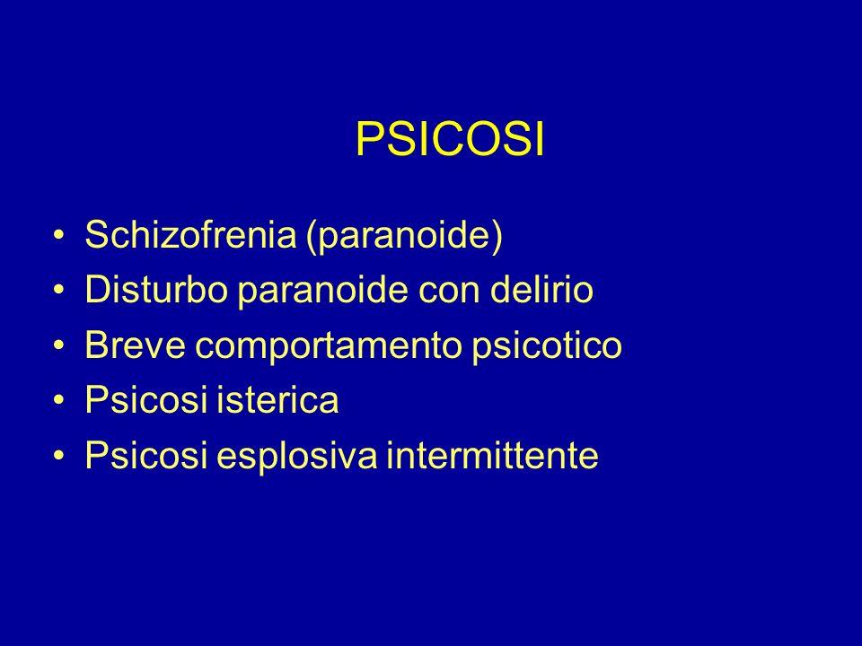 PSICOSI Schizofrenia (paranoide) Disturbo paranoide con delirio Breve comportamento psicotico Psicosi isterica Psicosi esplosiva intermittente