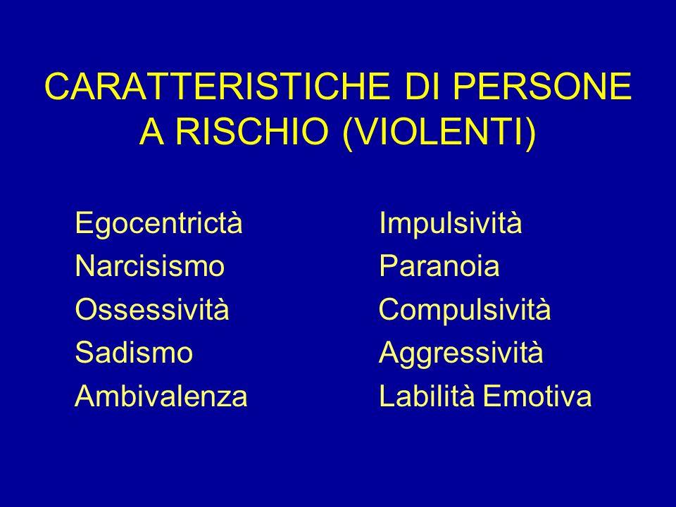 CARATTERISTICHE DI PERSONE A RISCHIO (VIOLENTI) EgocentrictàImpulsività NarcisismoParanoia Ossessività Compulsività SadismoAggressività AmbivalenzaLab