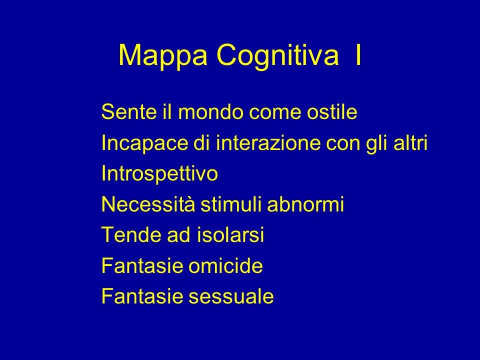 Mappa Cognitiva I Sente il mondo come ostile Incapace di interazione con gli altri Introspettivo Necessità stimuli abnormi Tende ad isolarsi Fantasie
