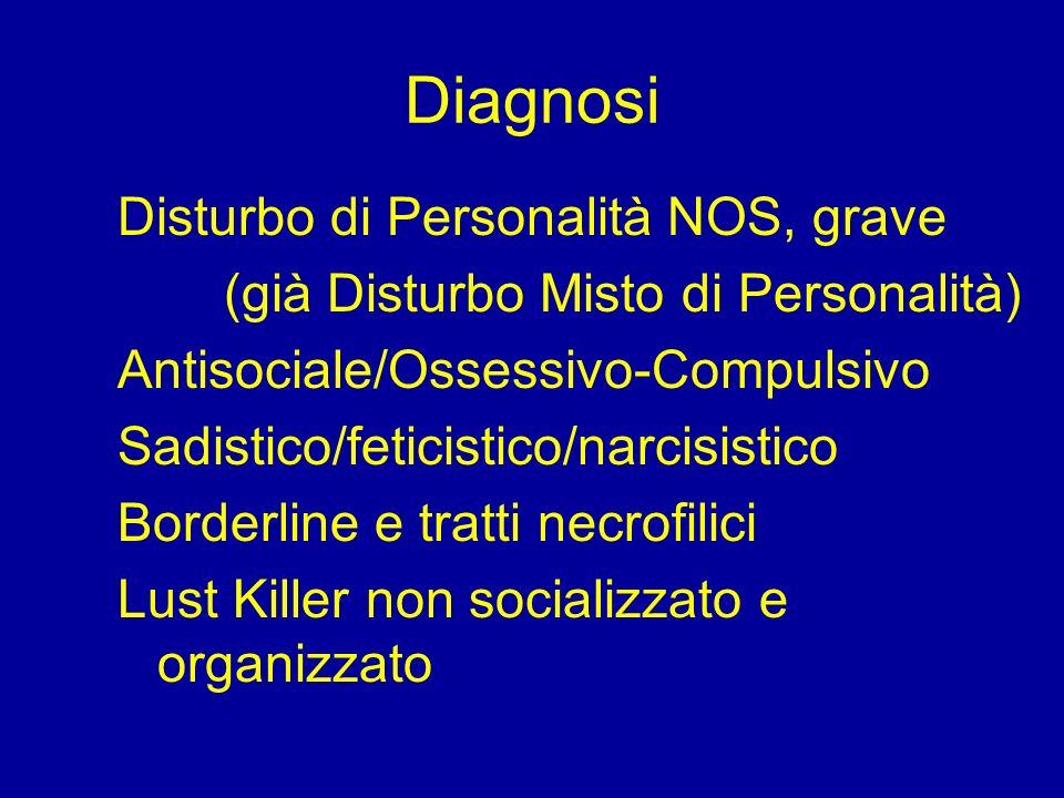 Diagnosi Disturbo di Personalità NOS, grave (già Disturbo Misto di Personalità) Antisociale/Ossessivo-Compulsivo Sadistico/feticistico/narcisistico Bo