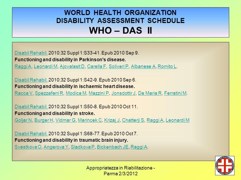 Appropriatezza in Riabilitazione - Parma 2/3/2012 WORLD HEALTH ORGANIZATION DISABILITY ASSESSMENT SCHEDULE WHO – DAS II Disabil Rehabil.Disabil Rehabi