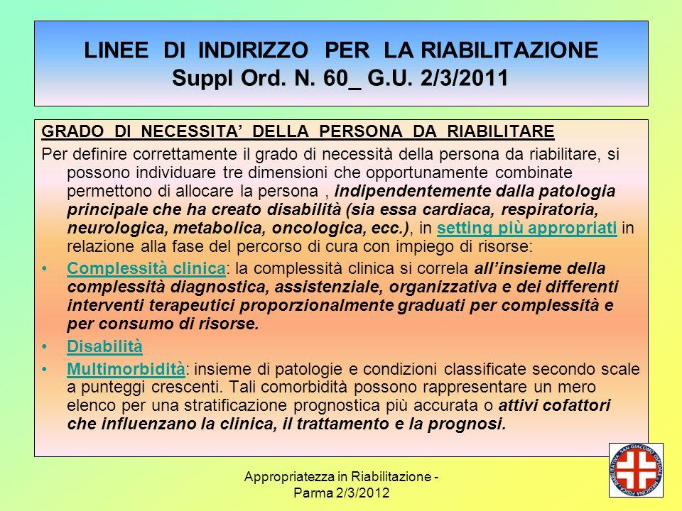 Appropriatezza in Riabilitazione - Parma 2/3/2012 LINEE DI INDIRIZZO PER LA RIABILITAZIONE Suppl Ord. N. 60_ G.U. 2/3/2011 GRADO DI NECESSITA DELLA PE