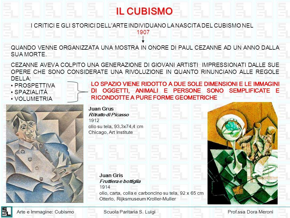 Arte e Immagine: CubismoScuola Paritaria S. LuigiProf.ssa Dora Meroni IL CUBISMO I CRITICI E GLI STORICI DELLARTE INDIVIDUANO LA NASCITA DEL CUBISMO N