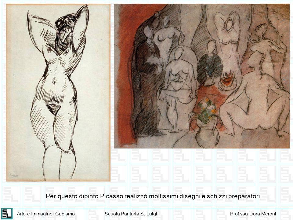 Arte e Immagine: CubismoScuola Paritaria S. LuigiProf.ssa Dora Meroni Per questo dipinto Picasso realizzò moltissimi disegni e schizzi preparatori