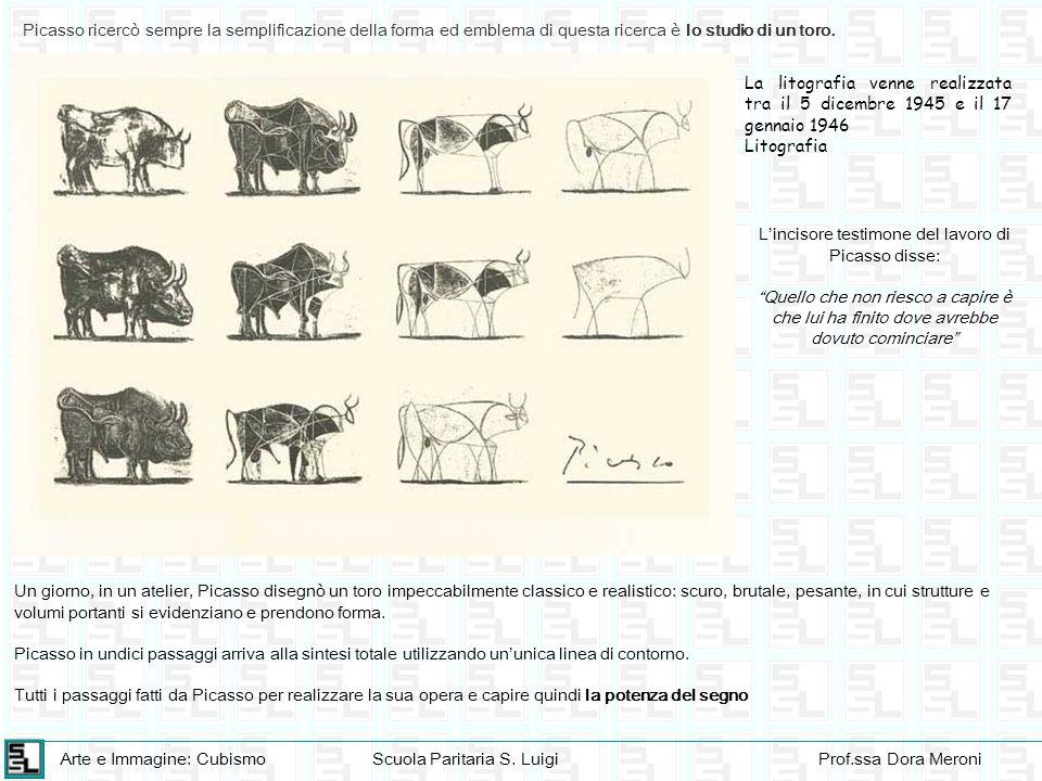 Arte e Immagine: CubismoScuola Paritaria S. LuigiProf.ssa Dora Meroni Picasso ricercò sempre la semplificazione della forma ed emblema di questa ricer